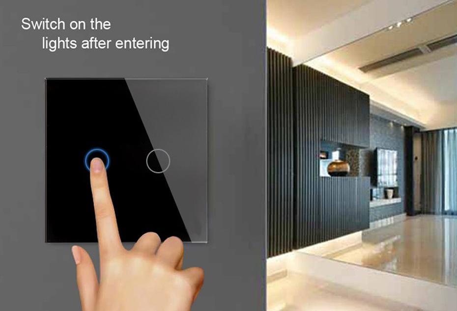 EU Standard Touch Switch Crystal Glass Switch Panel Single FireWire 3
