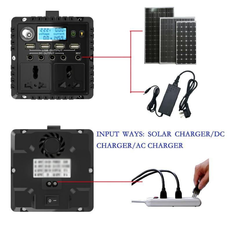 Portable Movable Home Solar Generator 300W DC AC 12V 220V Inver 3