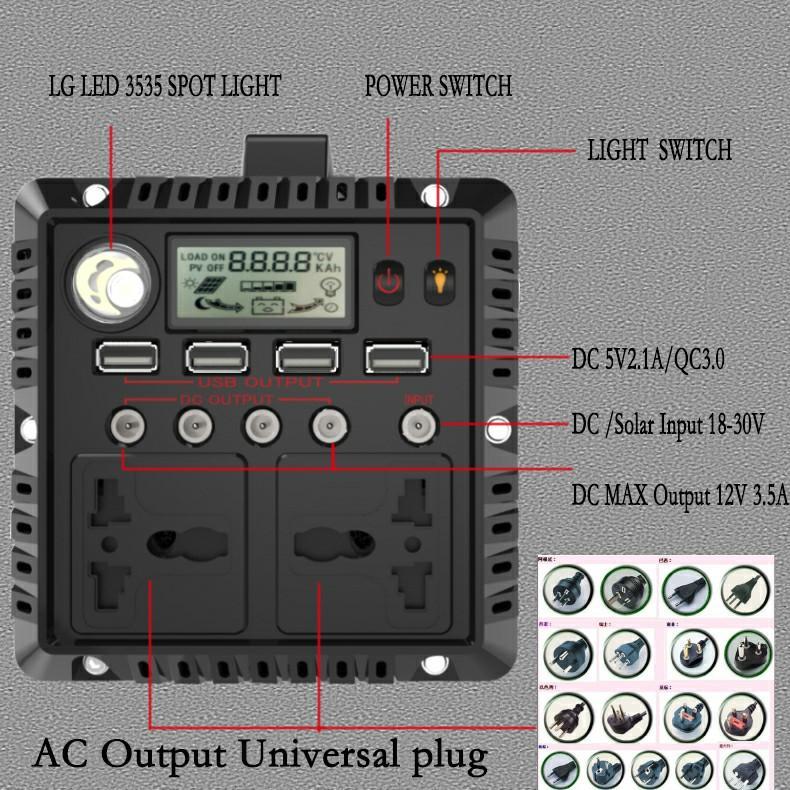 Portable Movable Home Solar Generator 300W DC AC 12V 220V Inver 4