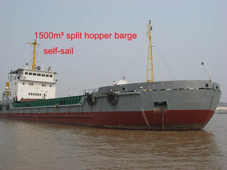 sell used split hopper barge 1500cbm 1500 cubic bottom open barge 1