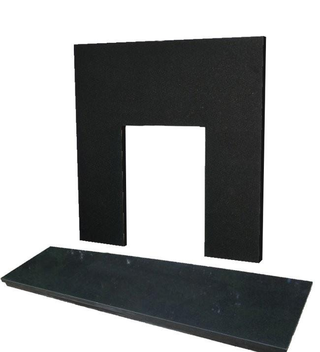 Polished Pearl Black Granite Fireplace with Hearth Insert 1