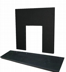 Polished Pearl Black Granite Fireplace with Hearth Insert