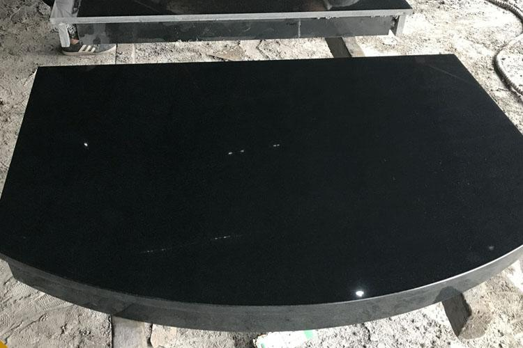 Polished Pearl Black Granite Fireplace with Hearth Insert 3