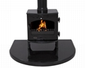Polished Pearl Black Granite Fireplace with Hearth Insert 4