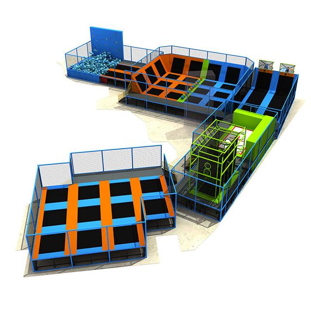 commerical indoor playground trampoline park with foam pit and ninja course 2