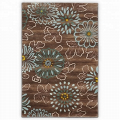 Hand tufted flower wool floor carpet
