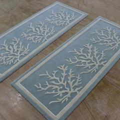 Simple Botanical wool rug for bedroom