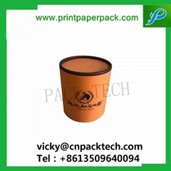 Custom Rigid Cylindrical Coated Paper Top and Bottom Lid Box Round Tea Packaging