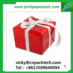 Delicate Red Christmas Gift Box with Bowknot Jewellery Packaging Box Necklace Bo