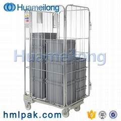 Mobile warehouse best quality foldable collapsible wire mesh roll cage trolley