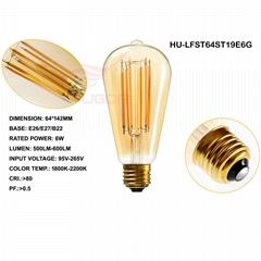 Led Filament Bulb ST64/ST19 6W GOLD