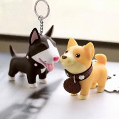 Free design service cheap customized key chains cute dog shape soft PVC keychain