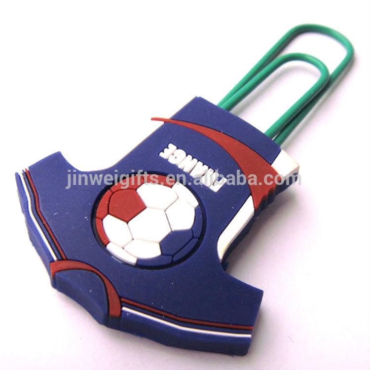 Custom Football clothes shape soft silicone pvc bookmark plastic paper clips 2