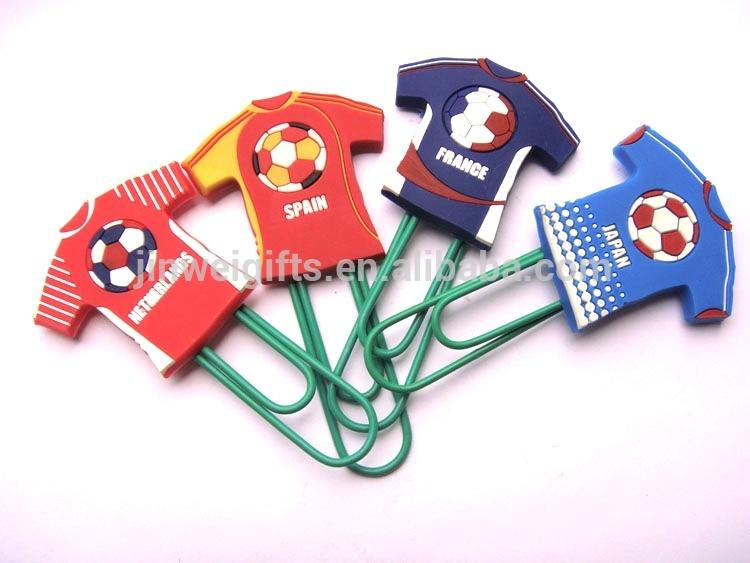 Custom Football clothes shape soft silicone pvc bookmark plastic paper clips 1