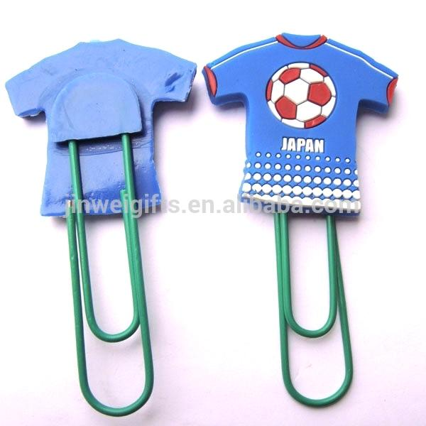 Custom Football clothes shape soft silicone pvc bookmark plastic paper clips 3