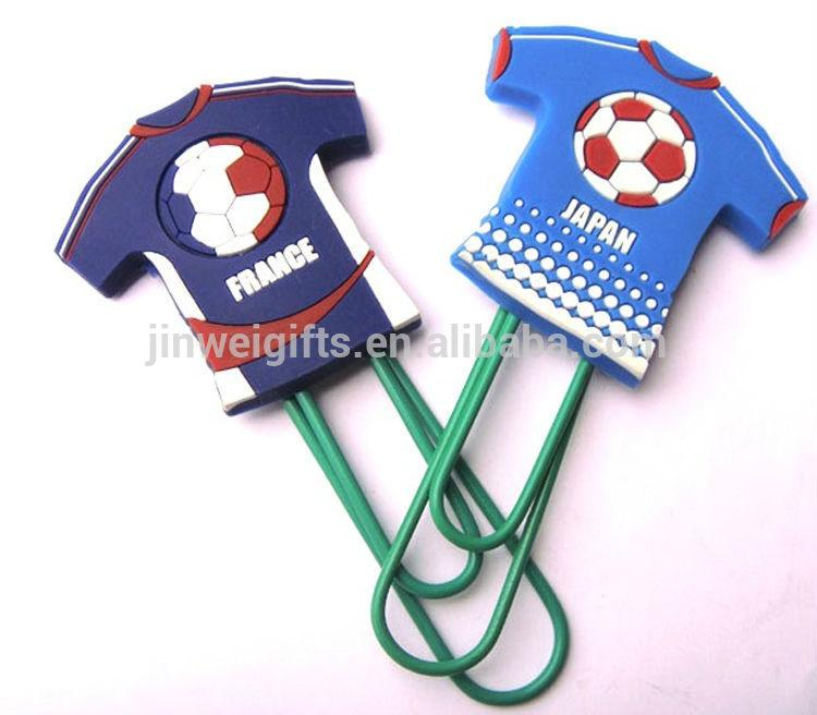 Custom Football clothes shape soft silicone pvc bookmark plastic paper clips 5