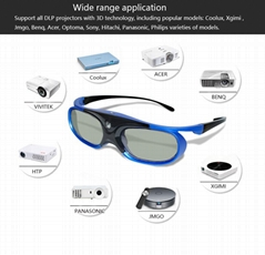 DLP Link Active Shutter 3D Glasses with Rechargeable match all DLP 3D projector