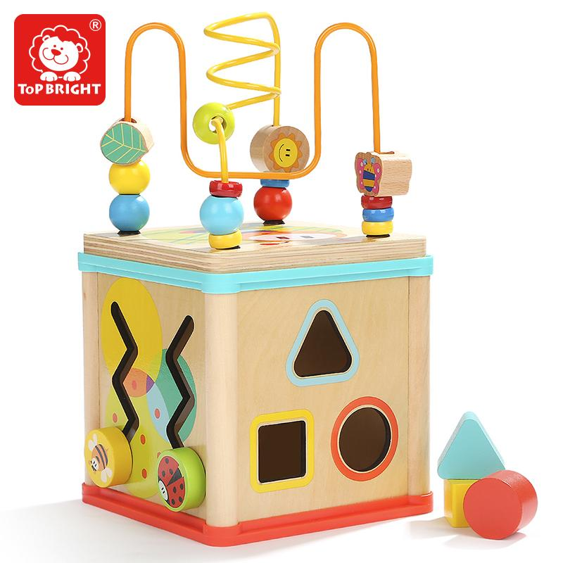 Educational Garden Activity Wooden Cube Math Block Beads Toys with Shape Sorting 5