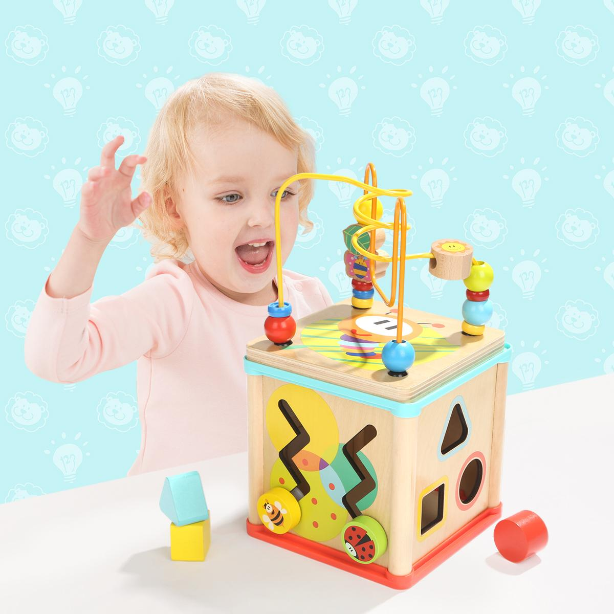 Educational Garden Activity Wooden Cube Math Block Beads Toys with Shape Sorting 3