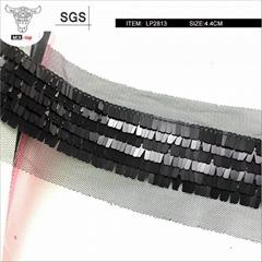 MIX-TOP-LP2813黑色方形吊片珠片带,亮片花边带,厂家直销