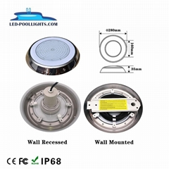 Wall recessed or wall mounted resin filled LED underwater swimming pool light