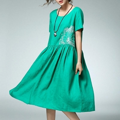 Women Casual Loose Cotton Linen Embroidery Pleats Dress Round Neck Cotton Linen