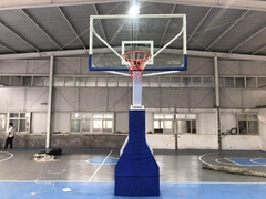 Electronic hydraulic basketball stand