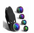 5 in 1 telescope anamorphic fisheye universal mobile phone zoom lens kit