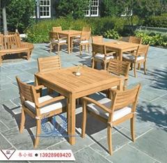 實木一桌四椅 庭院桌椅組合 戶外休閑桌椅 菠蘿格桌椅傘 木桌椅