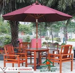 户外桌椅伞 阳台桌椅 防腐木 实木 菠萝格桌椅 花园遮阳伞带桌椅