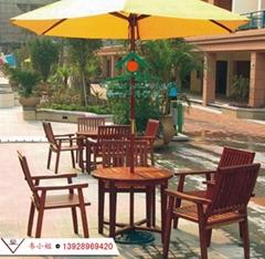 戶外休閑桌椅實木套椅花園防腐木餐桌帶傘木製套桌椅組合帶遮陽傘