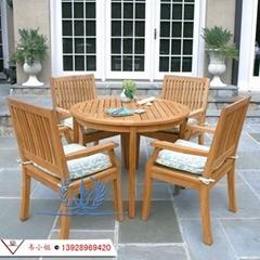 户外实木桌椅 别墅阳台休闲桌椅五件套 庭院室外桌椅带伞组合