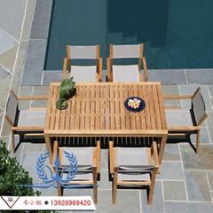 柚木桌椅 庭院泳池休閑椅 戶外木製套椅 實木桌子椅子 高檔桌椅