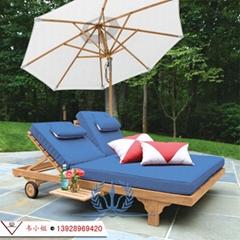 酒店泳池雙人沙灘椅 戶外休閑折疊躺椅 午休躺椅陽台靠椅睡椅