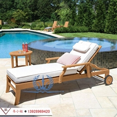 户外实木躺椅 室外阳台休闲木质折叠躺床 露天酒店泳池沙滩椅