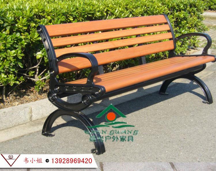 高檔公園椅 鑄鋁腳長椅 塑木長登坐登 廣場椅 戶外休閑坐椅長條椅 3