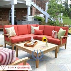 全实木沙发组合现代简约布艺沙发 户外庭院花园休闲实木家具