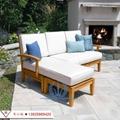 全实木沙发组合现代简约布艺沙发 户外庭院花园休闲实木家具 2