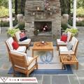 全实木沙发组合现代简约布艺沙发 户外庭院花园休闲实木家具 3