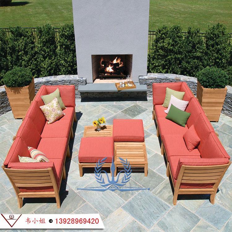 全实木沙发组合现代简约布艺沙发 户外庭院花园休闲实木家具 4