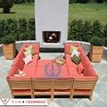 全实木沙发组合现代简约布艺沙发 户外庭院花园休闲实木家具 5