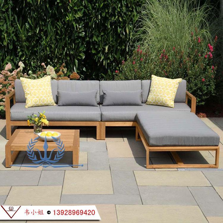 户外花园防腐实木休闲沙发茶几组合 别墅花园沙发 高档实木家具定制 2