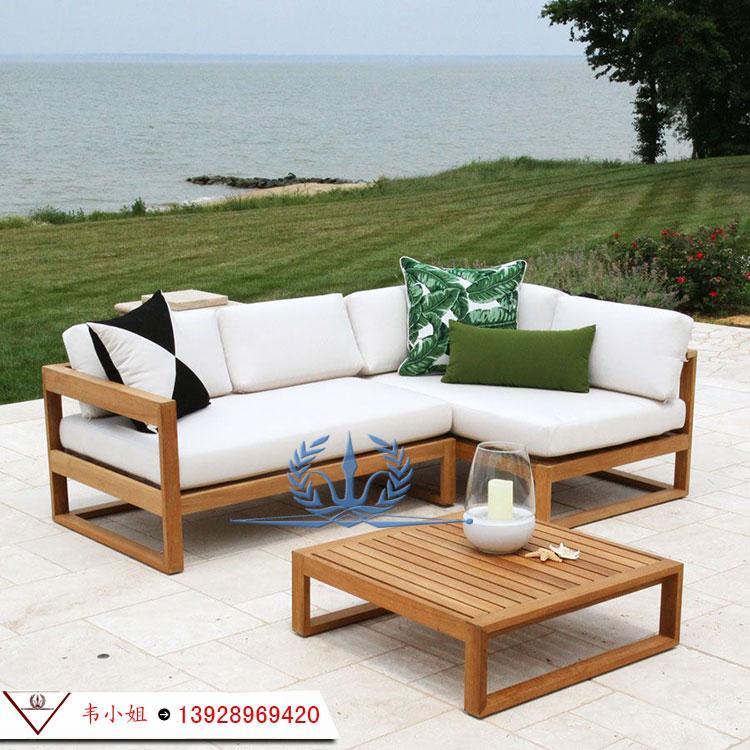 户外花园防腐实木休闲沙发茶几组合 别墅花园沙发 高档实木家具定制 3