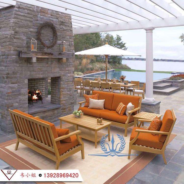 高档休闲简约家具组合 户外庭院花园柚木沙发 实木家具定制 1