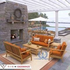 高檔休閑簡約傢具組合 戶外庭院花園柚木沙發 實木傢具定製