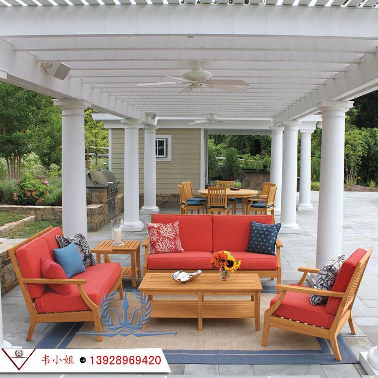 高档休闲简约家具组合 户外庭院花园柚木沙发 实木家具定制 2