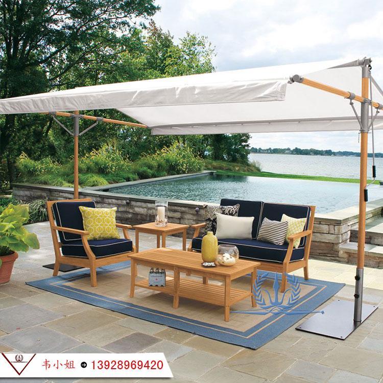 高档休闲简约家具组合 户外庭院花园柚木沙发 实木家具定制 3