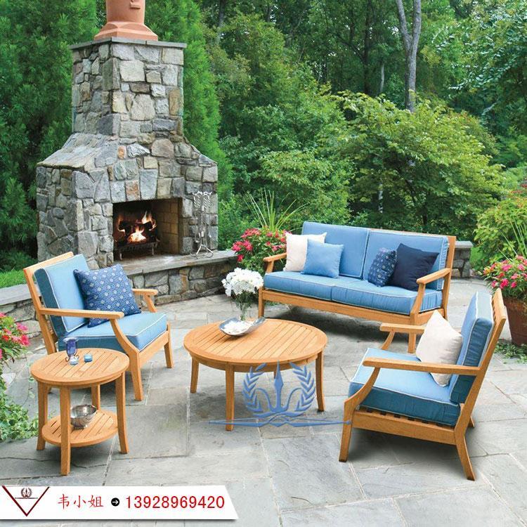 高档休闲简约家具组合 户外庭院花园柚木沙发 实木家具定制 4