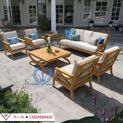 柚木家具 室外防腐休闲沙发组合 户外别墅花园庭院全实木三人沙发