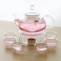 Borosilicate Glass Tea Pot Set Filtering with six cups 1